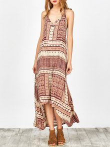Printed Halter High Low Dress - Nude Pink Xl