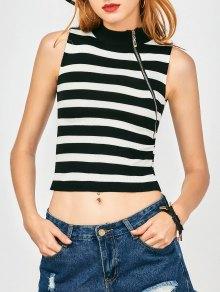 Zippered Knitting Stripes Tank Top