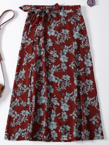 Floral High Slit Wrap Holiday Skirt - Wine Red