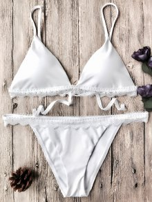 Scalloped Lace Sapghetti Strap Bikini Set - White S
