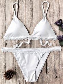 Dentelle Festonnée Sapghetti Bracelet Bikini - Blanc L