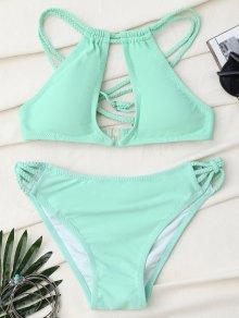Trenzada Espalda Cruzada Ojo De La Cerradura Conjunto De Bikini - Verde Claro Xl