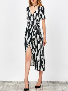 Feather Print Wrap Maxi Dress