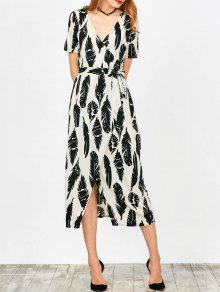 Feather Print Wrap Maxi Dress - White L