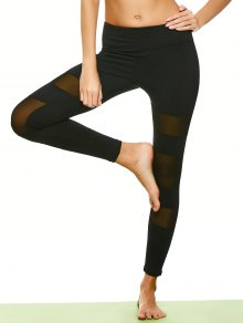Geometric Mesh Panel Sheer Sports Leggings - Black