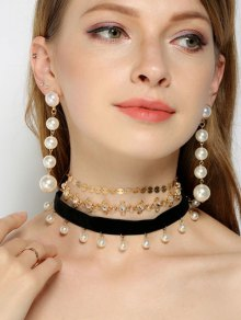Rhinestone Faux Pearl Sequins Jewelry Set
