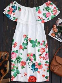 Ruffles Off The Shoulder Sheath Dress - White