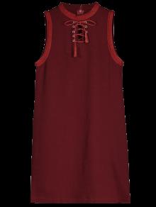 Vestido Sin Mangas Con Cuello De Encaje - Vino Rojo M