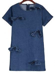 Bowknot Denim Shift Dress - Denim Blue S