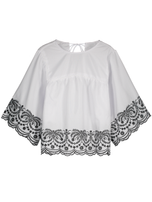 Scalloped Embroidered Blouse With Ladder Detail - White L