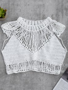 Crochet Cropped Cover Up Top
