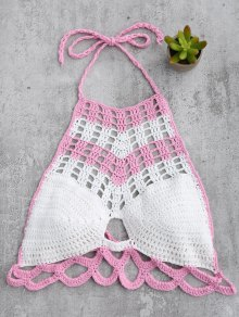 High Neck Color Block Crochet Swim Top