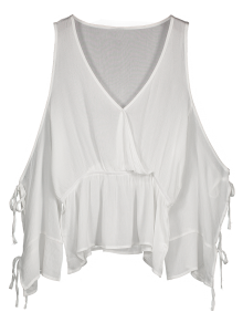 Tied Split Sleeve Surplice Blouson Top - White S