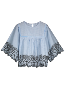 Striped Scalloped Embroidered Smock Blouse