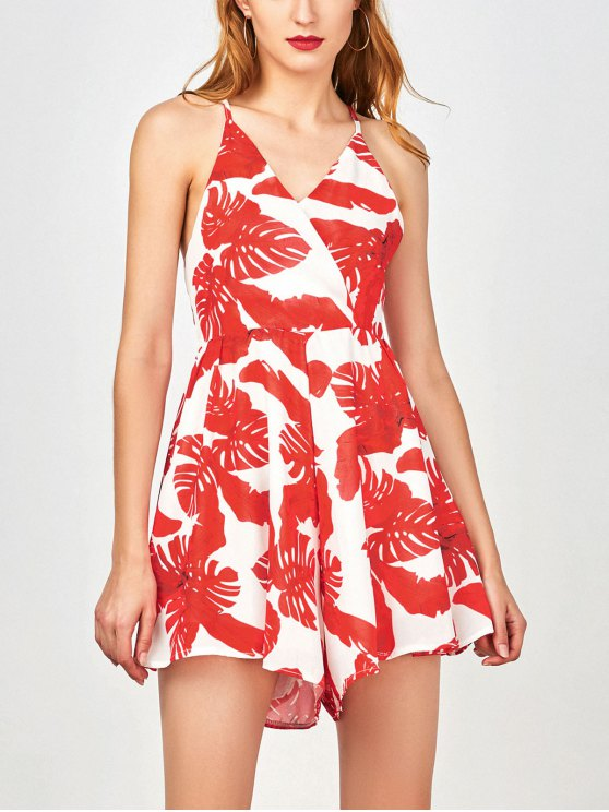 fashion Tropical Print Wide Leg Surplice Romper - RED L
