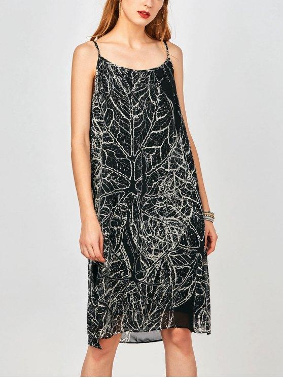 Slip Imprimir hendidura lateral gasa vestido de fiesta - Negro M