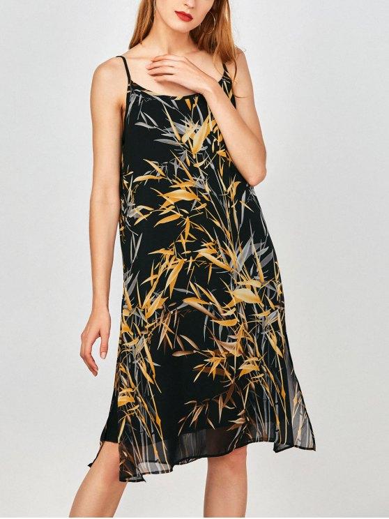 Slip Imprimir hendidura lateral gasa vestido de fiesta - Terroso L