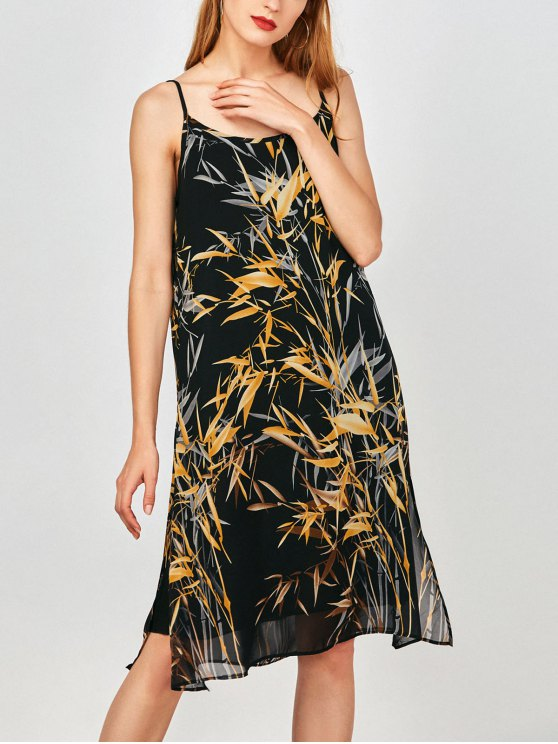 Slip Imprimir hendidura lateral gasa vestido de fiesta - Terroso M