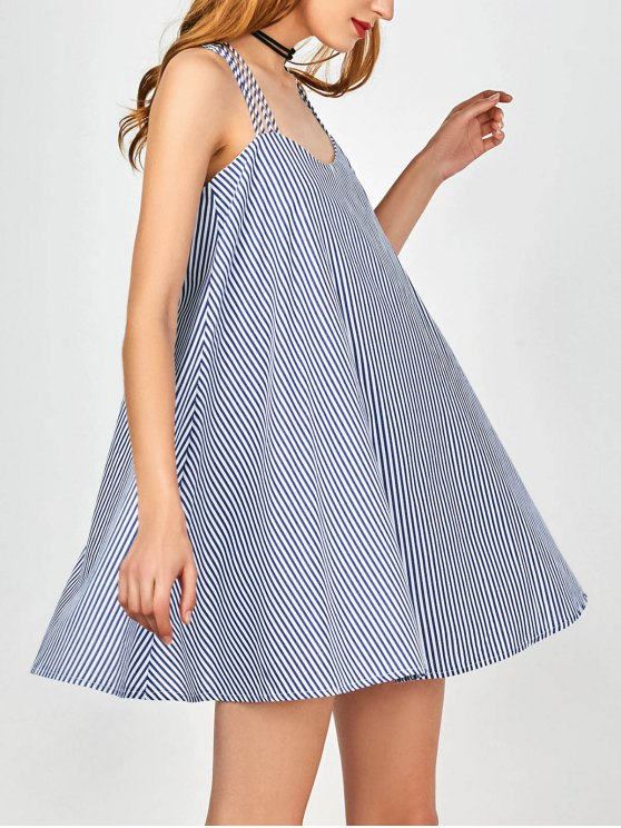 outfit Multi Straps Striped Trapeze Dress - BLUE AND WHITE M