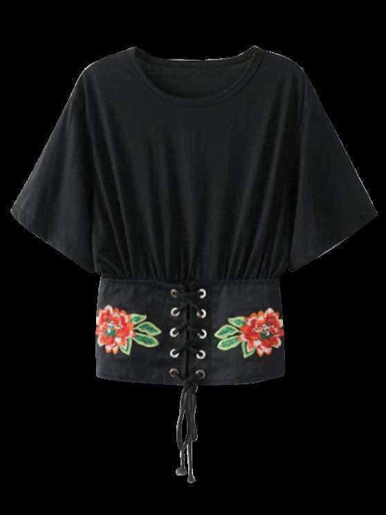 Kimono bordado con cordones arriba - Negro L