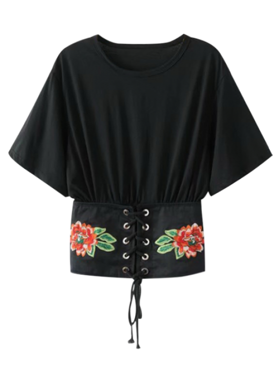 trendy Embroidered Kimono Lace Up Top - BLACK S