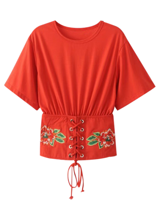 fancy Embroidered Kimono Lace Up Top - RED S