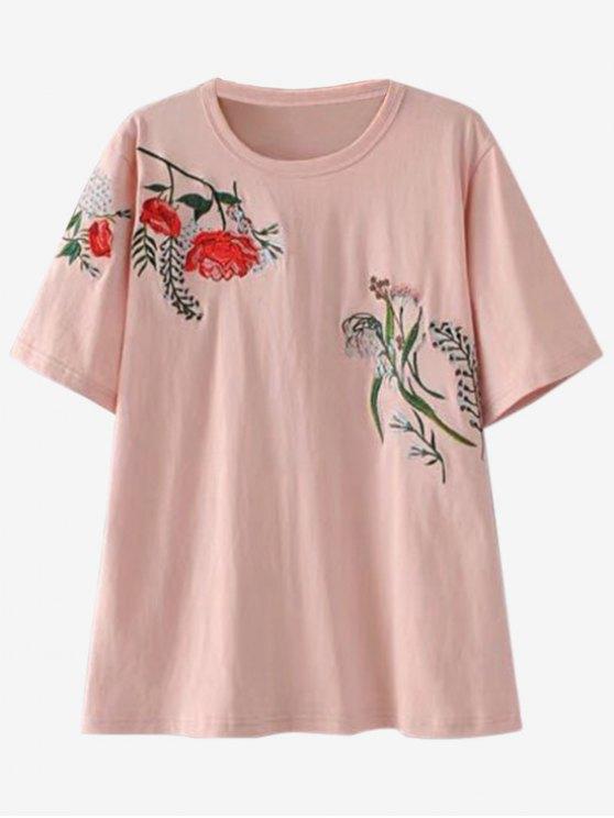 Camiseta Bordada suelta - Rosa L