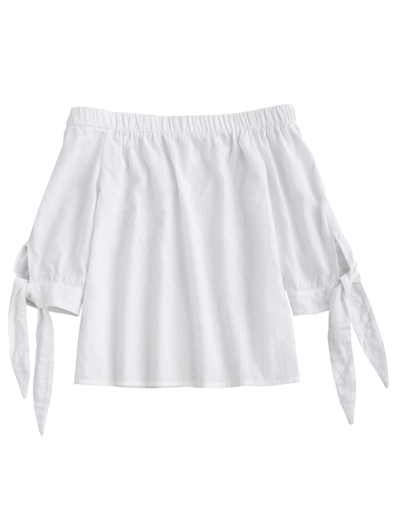 Off Shoulder Tied Sleeve Blouse - WHITE S Mobile