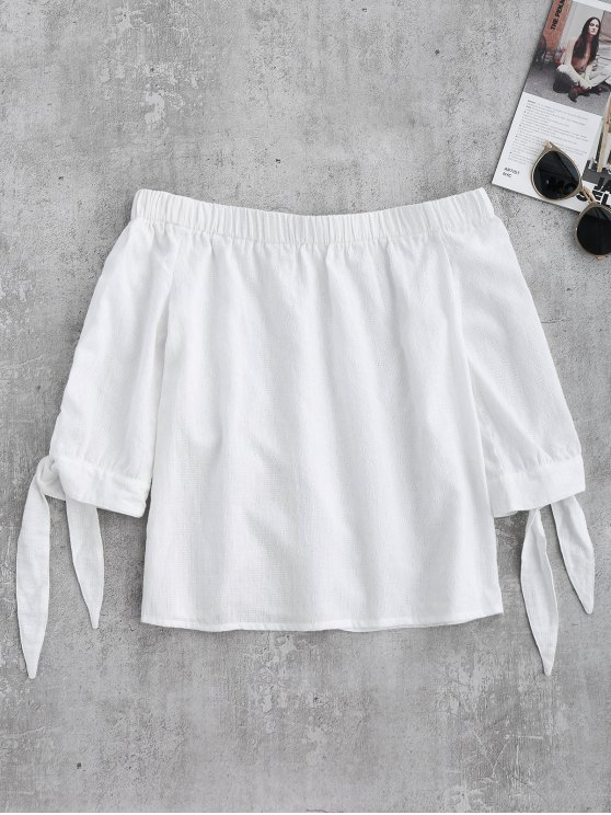 Off Shoulder Tied Sleeve Blouse - WHITE M Mobile