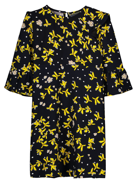outfit Floral Flare Sleeve Shift Dress - BLACK L