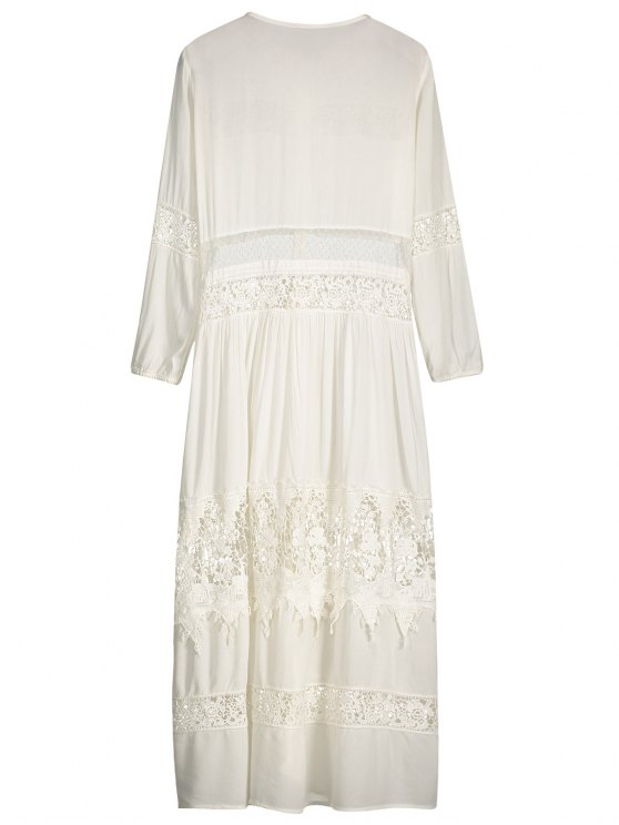 Button Up Lace Panel Drawstring Waist Dress - WHITE S Mobile
