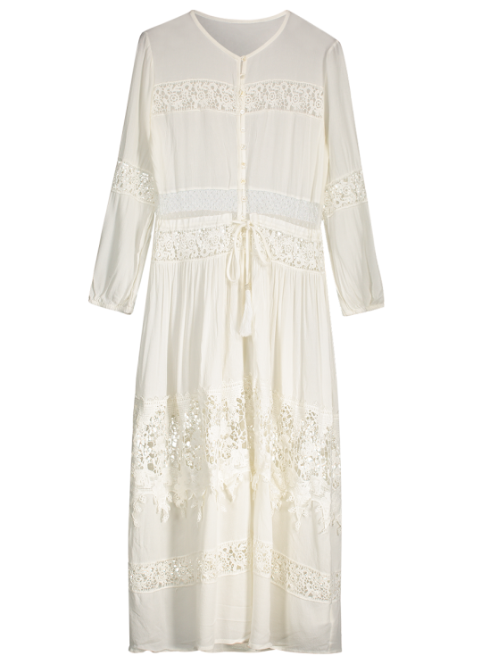 trendy Button Up Lace Panel Drawstring Waist Dress - WHITE M