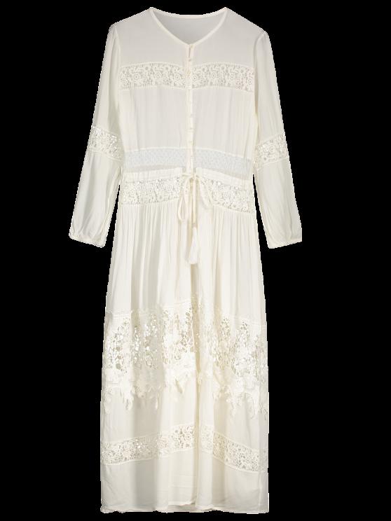 trendy Button Up Lace Panel Drawstring Waist Dress - WHITE M