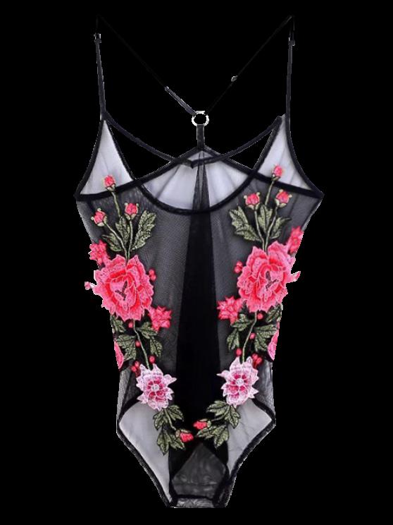 Floral Ver a través de Bodysuit - Negro S