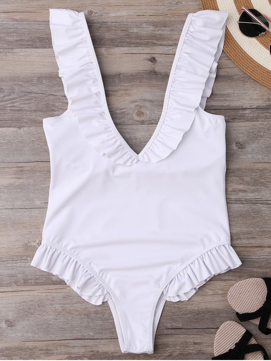 outfits Plunging Neck Ruffle Strap Bride Swimsuit - WHITE L