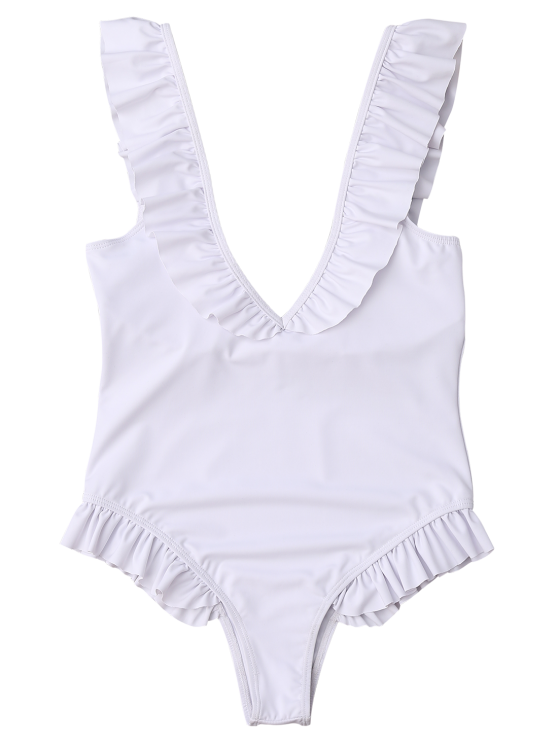 Plunging Neck Ruffle Strap Bride Swimsuit - WHITE M Mobile