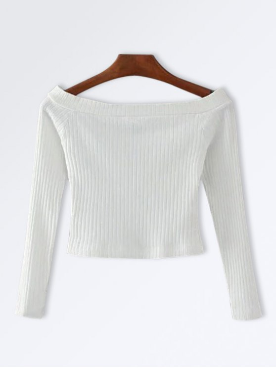 lady Knitted Ribbed Off The Shoulder Top - WHITE S