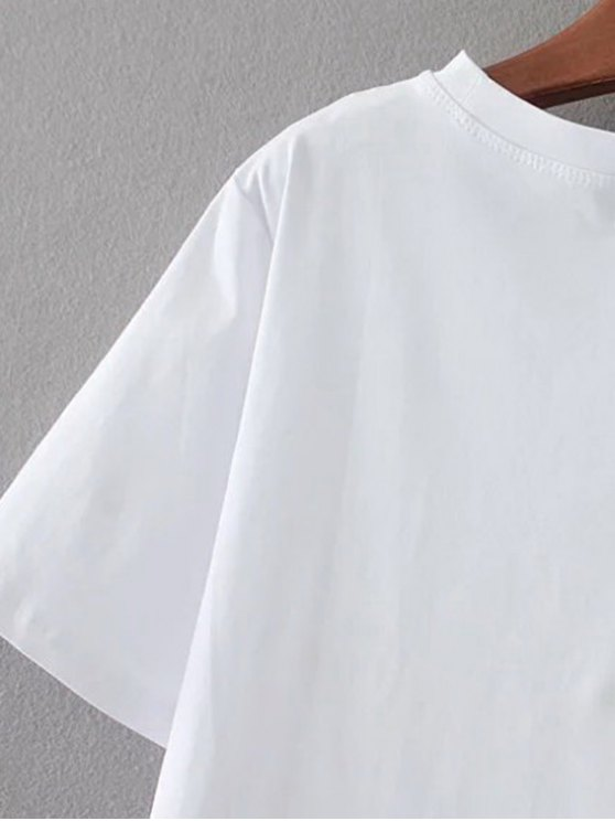 Cute Patched T-Shirt - WHITE ONE SIZE Mobile
