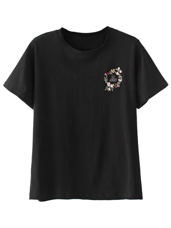 latest Cute Floral Embroidered T-Shirt - BLACK L