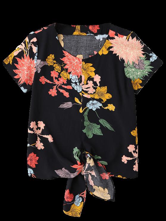 Floral Knot Hem Top - BLACK S Mobile