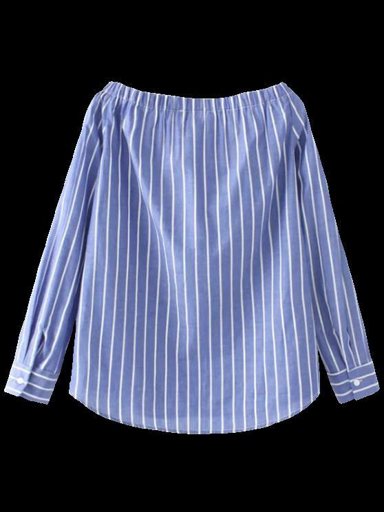 Rayado de la camisa del hombro - Azul M