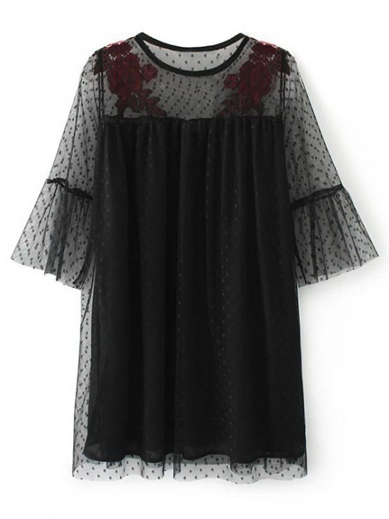 Embroidered See-Through Tunic Dress - BLACK S Mobile
