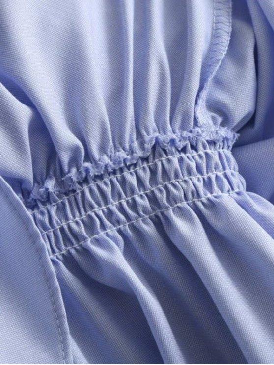 Layered Flounced Casual Dress - LIGHT BLUE S Mobile