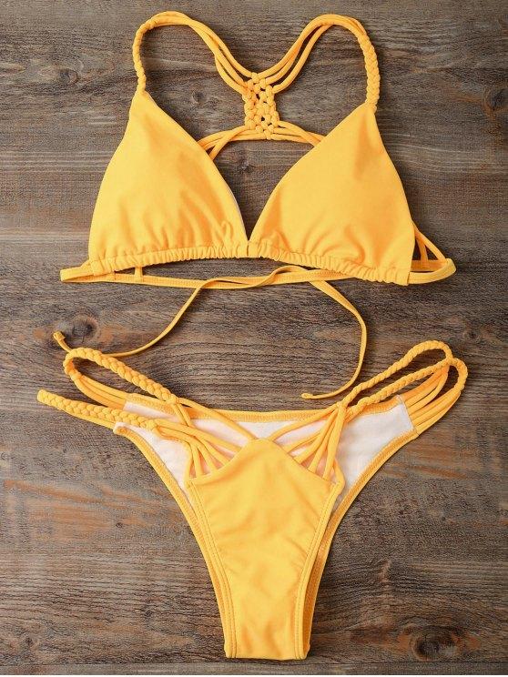 Strappy Cut Out Bikini Set - YELLOW S Mobile