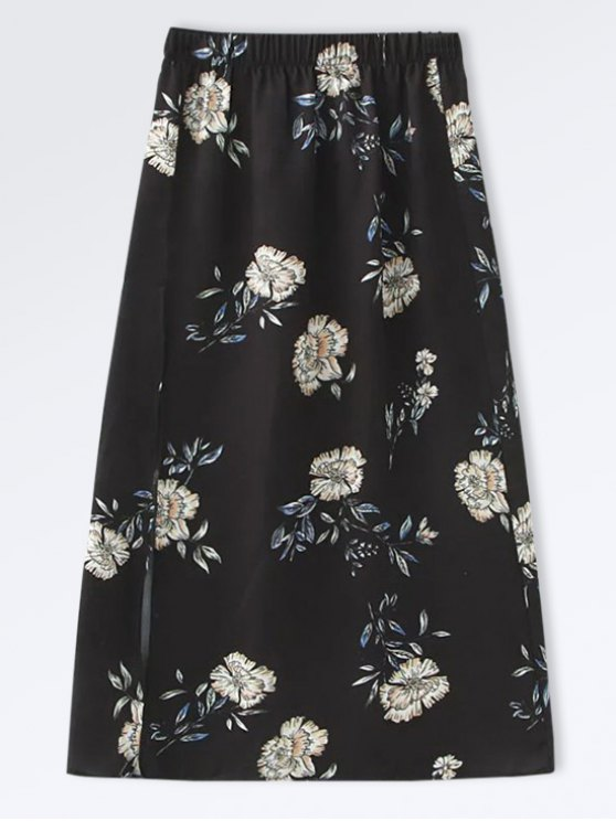 Falda Floral A-Line de Popeline - Negro S
