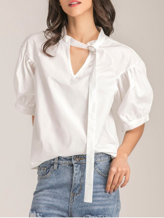 trendy Oversized Choker Cut Out Blouse - WHITE S