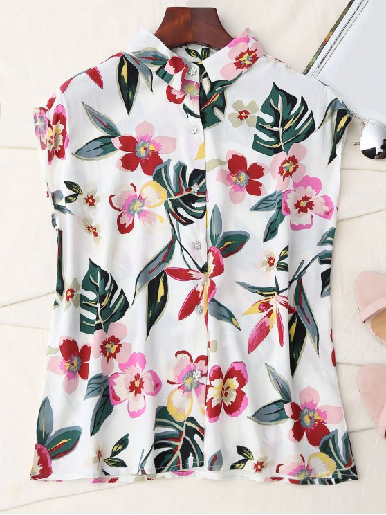 outfit Floral Sleeveless Button Up Shirt - WHITE M