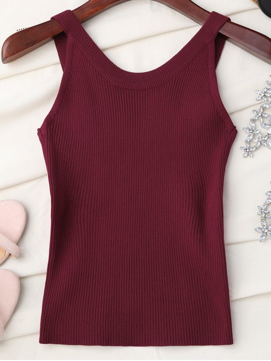 High Neckline Knitted Tank Top - WINE RED ONE SIZE Mobile