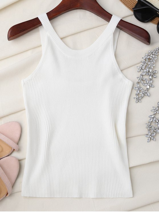 shop High Neckline Knitted Tank Top - WHITE ONE SIZE