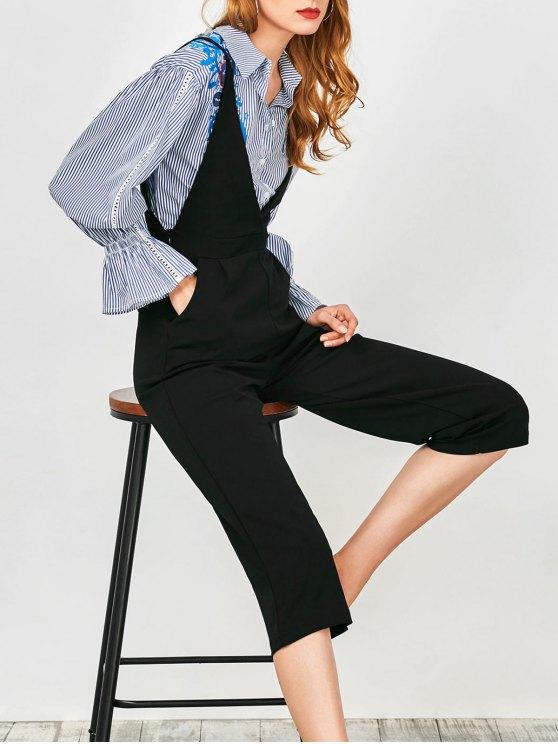 women Cami Plunge Wide Leg Capri Jumpsuit - BLACK L